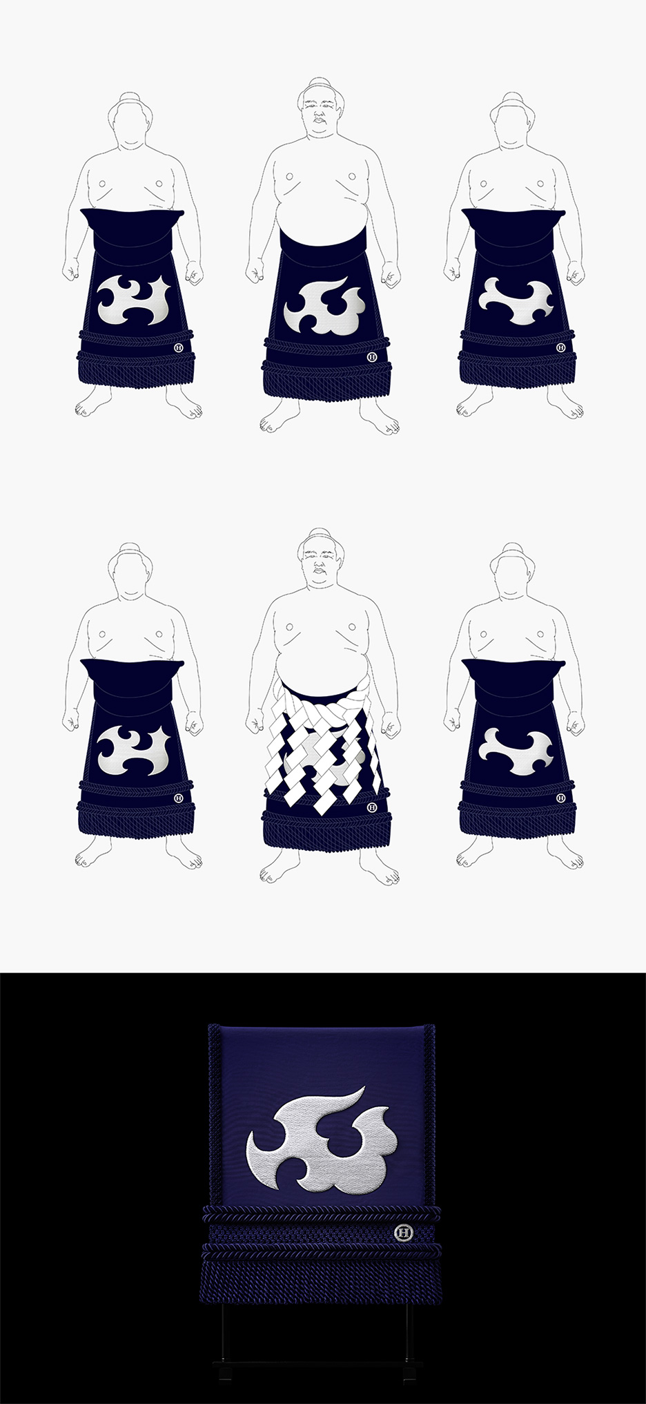 We designed the kesho-mawashi uniforms of yokozuna (highest grade) sumo wrestlers.